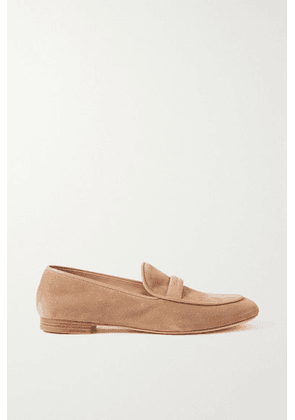 Gianvito Rossi - Maxime Leather-trimmed Suede Loafers - Neutral