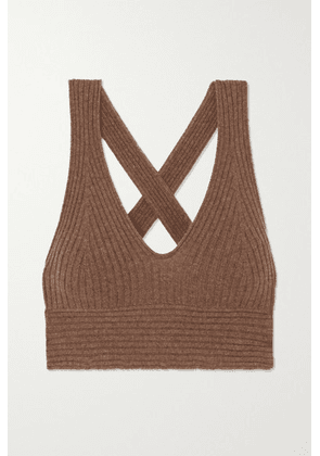 LOULOU STUDIO - Tromelin Cropped Ribbed Mélange Cashmere Top - Brown