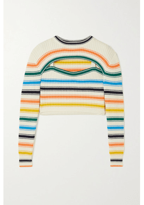 Rosie Assoulin - Thousand-in-one-ways Convertible Cropped Striped Ribbed Merino Wool-blend Sweater - White