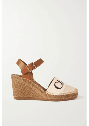 Chloé - Woody Leather And Logo-print Canvas Espadrille Wedges - White
