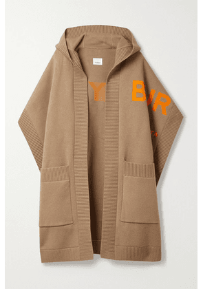 Burberry - Hooded Jacquard-knit Cashmere-blend Wrap - Camel