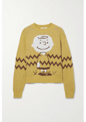 RE/DONE - + Peanuts 50s Intarsia-knit Sweater - Mustard