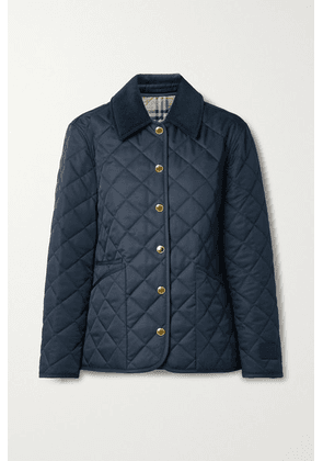 Burberry - Reversible Corduroy-trimmed Quilted Shell And Checked Cotton Jacket - Midnight blue