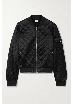Cami NYC - Dierdre Quilted Silk-charmeuse Bomber Jacket - Black