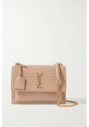 SAINT LAURENT - Sunset Small Croc-effect Glossed-leather Shoulder Bag - Beige