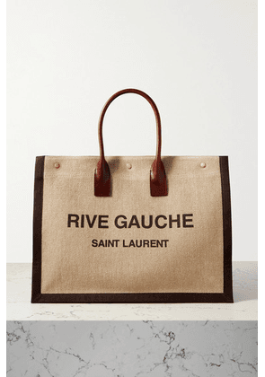 SAINT LAURENT - Noe Leather-trimmed Printed Linen-canvas Tote - Brown