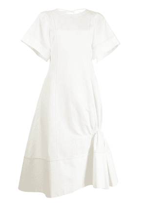 Eudon Choi gathered cotton-linen blend midi dress - White