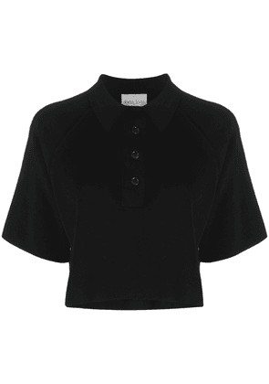 Forte Forte cropped knitted polo top - Black