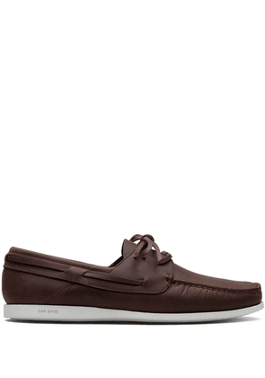 Car Shoe lace-up calf leather boat shoes - Brown