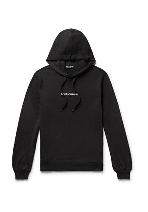 DOLCE & GABBANA - Logo-Embroidered Loopback Cotton-Jersey Hoodie - Men - Black - IT 44