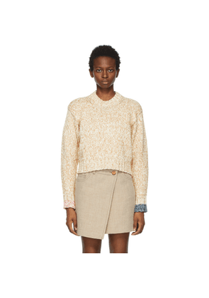 Acne Studios Off-White and Tan Spongy Knit Sweater