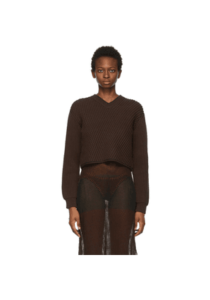 Acne Studios Brown Cropped Sweater
