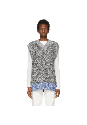 Acne Studios White and Black Chunky Sweater Vest