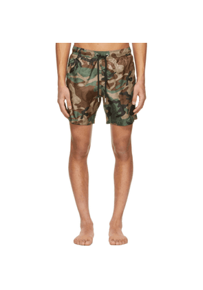 Moncler Green and Brown Camo Swim Shorts