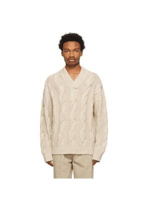 Acne Studios Beige Cable Knit V-Neck Sweater