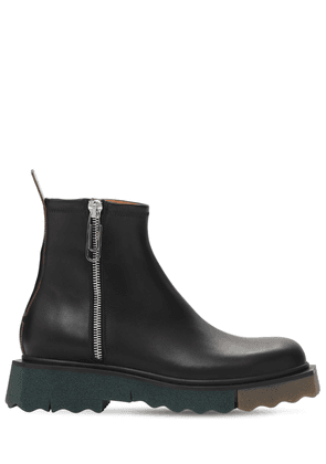 Sponge Sole Leather Zip Boots