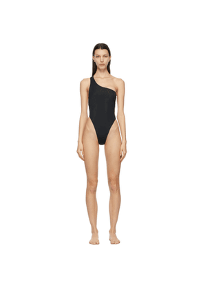 Louisa Ballou Black Plunge One-Piece Swimsuit