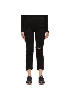Levis Black 724 High-Rise Straight Cropped Jeans