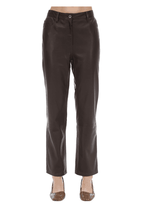 Straight Leg Soft Grain Leather Pants