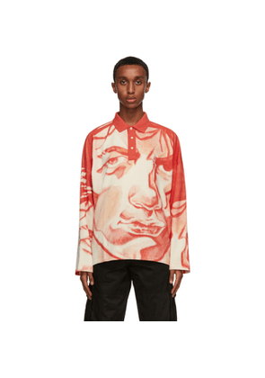 JW Anderson Red Oversized Long Sleeve Polo