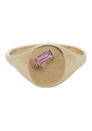 Seb Brown Gold Sapphire Baguette Signet Ring