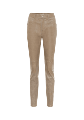 Taro high-rise skinny leather pants