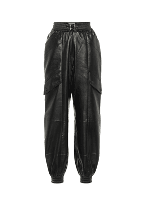 Faux leather trackpants