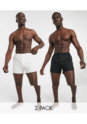 ASOS DESIGN 2 pack woven boxers with waistband button detail-Multi