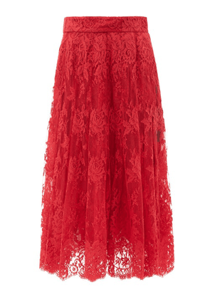 Dolce & Gabbana - Floral Cotton-blend Lace Midi Skirt - Womens - Red