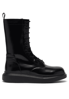 Alexander Mcqueen - Hybrid Lace-up Leather Boots - Mens - Black