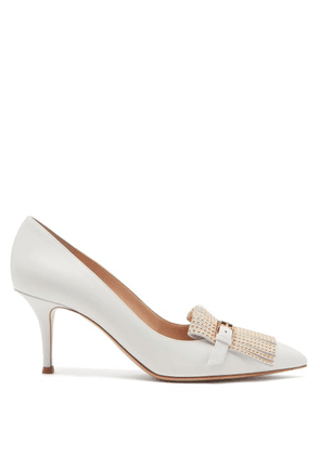 Gianvito Rossi - Danielle Studded-fringe Leather Pumps - Womens - White Gold