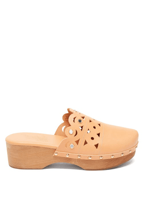 Ancient Greek Sandals - Grego Laser-cut Leather Clogs - Womens - Tan