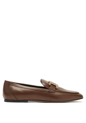 Tod's - Kate Chain-embellished Leather Loafers - Womens - Tan