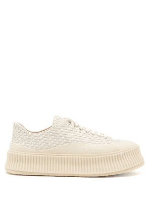 Jil Sander - Ribbed-sole Woven-leather Trainers - Womens - Cream