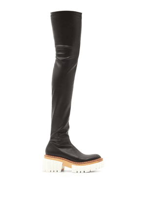 Stella Mccartney - Emilie Faux-leather Platform Over-the-knee Boots - Womens - Black White