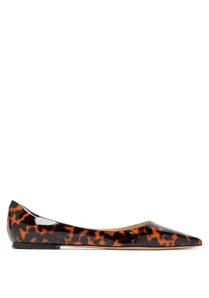 Jimmy Choo - Love Tortoiseshell-effect Patent-leather Flats - Womens - Brown Multi