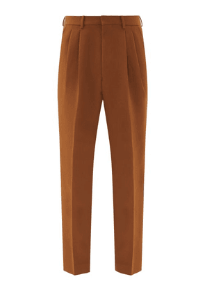 Ami - Pleated Wool-twill Trousers - Mens - Brown