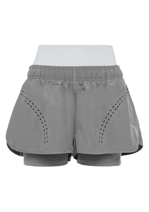 Adidas By Stella Mccartney Layered Perforated Shell Shorts Woman Gray Size L