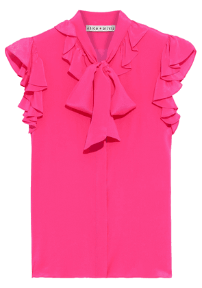 Alice + Olivia Robbie Pussy-bow Ruffled Silk Crepe De Chine Blouse Woman Bright pink Size L