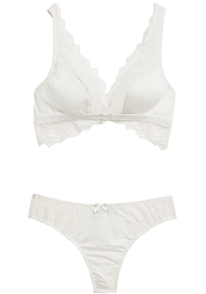 Cosabella Stretch-lace And Jersey Bralette And Mid-rise Thong Woman Ivory Size L