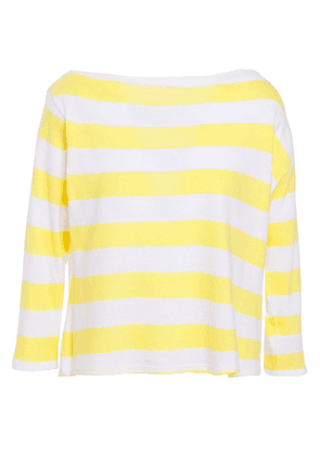 Enza Costa Striped Cotton-jersey Top Woman Yellow Size S