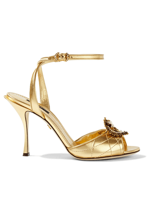 Dolce & Gabbana Devotion Embellished Metallic Quilted Leather Sandals Woman Gold Size 37
