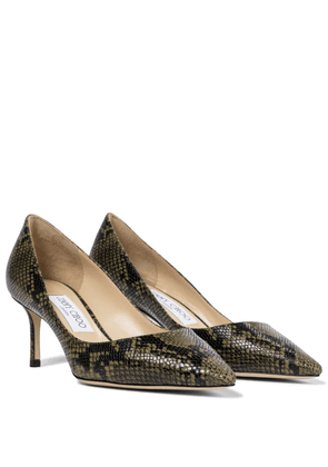 Romy 60 snake-effect leather pumps