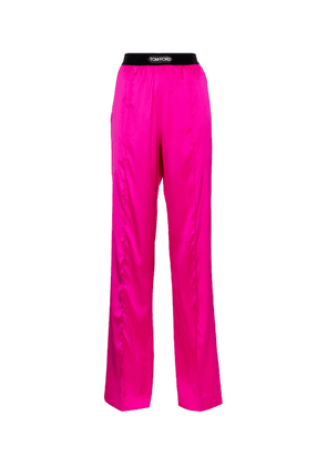 Stretch-silk satin straight pants