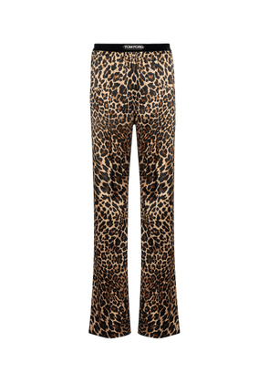Leopard-print stretch-silk satin pants