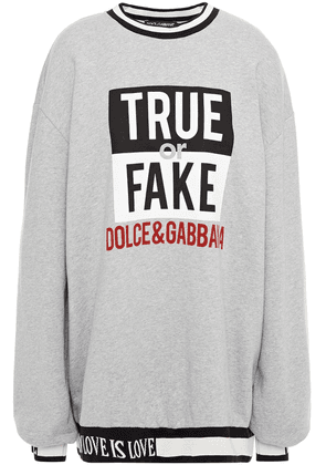 Dolce & Gabbana Printed Mélange French Cotton-terry Sweatshirt Woman Gray Size 40