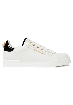 Dolce & Gabbana Logo-embellished Leather Sneakers Woman White Size 38