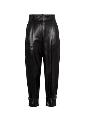 High-rise tapered leather pants