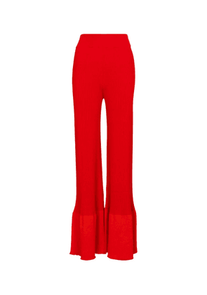 High-rise wide-leg knit pants