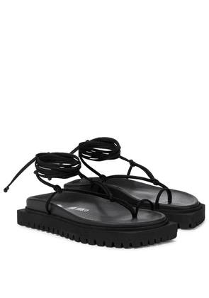 Lace-up leather thong sandals